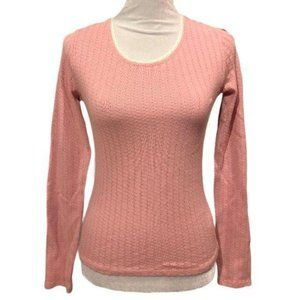 Forever 21 Cotton Lace Long Sleeve Top Pink Large